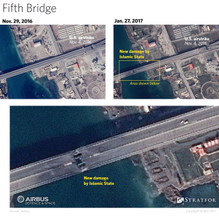 The United States made sure to disable the bridges in a way that allows them to be easily restored. This was achieved by striking the more accessible portions located on land. Based on recent satellite imagery, the Islamic State has not taken the same precautions.