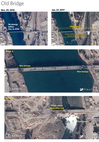Instead the group has focused its efforts on damaging the bridge sections spanning the river itself, where construction crews would have a harder time reaching and repairing them. The jihadists have also begun demolishing the bridge pilings on the western bank, which will force Iraqi troops to cross the river to repair the wreckage.