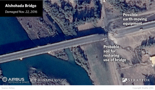 However, the downside of this targeting tactic is clear on the Alshohada Bridge, where the images show an apparent stockpile of soil and an earthmoving vehicle, indicating Islamic State efforts to restore the bridge's function.