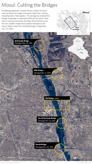 As battle inches closer to eastern Mosul, the five bridges that span the Tigris River, which runs through the city, have drawn the Iraqi coalition's fire.