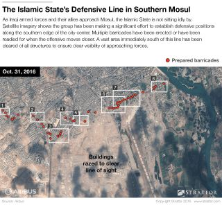 The photographs above, taken Oct. 31, show that the Islamic State has cleared a wide swath of terrain to the north of Mosul airport, along the western bank of the Tigris River.