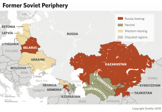 A map showing the countries in the former Soviet periphery.