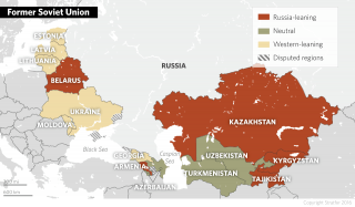 The former Soviet Union today is divided among countries that have maintained close relations with Russia, those that have forged deeper ties with the West and those that have remained neutral.