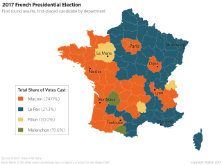 2017 French Presidential Election: First round results, first-placed candidate by department