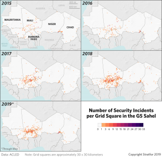 A map show security incidents in Africa's Sahel region from 2015 to now