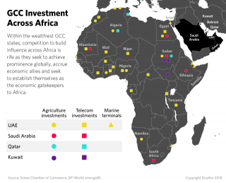 This map shows investments in Africa by Gulf Cooperation Council countries
