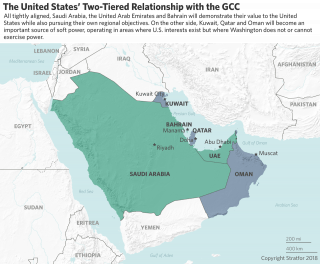 A map illustrates the United States two-tiered relationship with countries in the Gulf Cooperation Council.