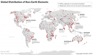A map showing the global distribution of rare earth elements.