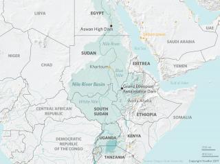 Location of the Grand Ethiopian Renaissance Dam, on the Blue Nile near the Sudan-Ethiopia border.