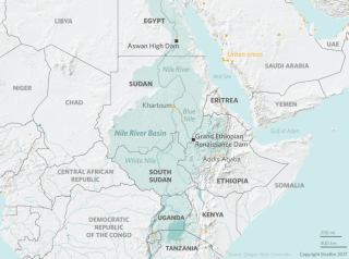 A map shows the location of the Grand Ethiopian Renaissance Dam and the Nile region.