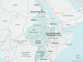 This map displays the location of the Grand Ethiopian Renaissance Dam.