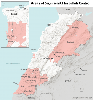 This map shows Hezbollah's areas of strength in Lebanon.