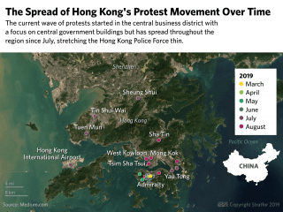A map showing the spread of Hong Kong's protest movement over time.