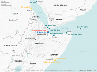 A map locating foreign military bases in the Horn of Africa.