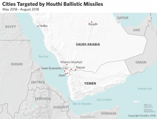 This map shows where Houthi missile strikes on Saudi Arabia landed
