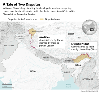 This map shows disputed areas on the India-China border.