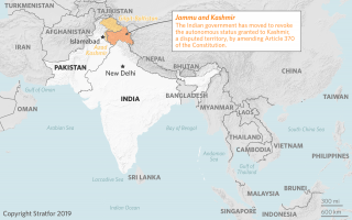 a map of the disputed region of Kashmir