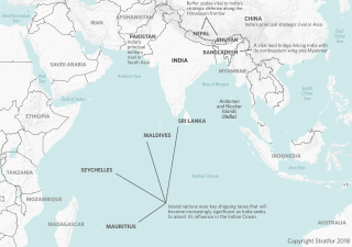A map showing the strategic importance of the countries that neighbor India in South Asia and the Indian Ocean.