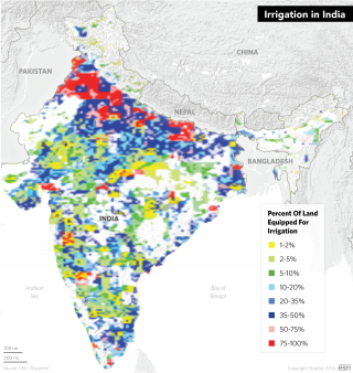 The Indian agricultural sector's reliance on groundwater irrigation to maintain crop yields, especially in weak monsoon years, has been steadily increasing since the 1950s.