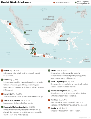 Map of Terrorist Attacks in Indonesia