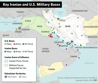 A map showing key Iranian and U.S. military bases in the Middle East.