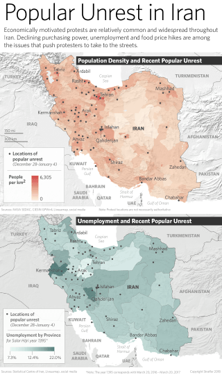 Maps Showing Iran's Population Density, Unemployment and Protest Sites