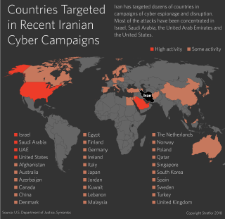 A map shows the countries targeted by hackers in Iran.