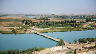 A view of the Tigris River from the compound of the Nineveh International Hotel in Mosul, June 16.