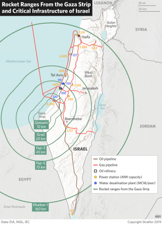 A map showing rocket ranges from the Gaza Strip and critical infrastructure of Israel.