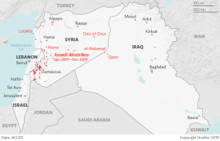 This map shows the location of Israeli airstrikes in Syria and Iraq since January 2017.