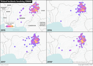 A graphic mapping violent incidents in Nigeria involving ISWAP.