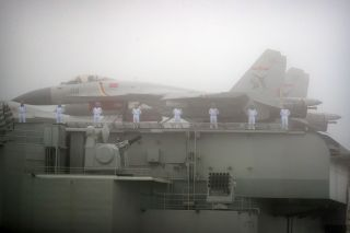 J-15 naval fighters aboard the Chinese aircraft carrier Liaoning. The Liaoning is the first aircraft carrier the Chinese have operated and serves a key role as a training carrier for China's first generation of carrier pilots and crew.