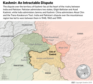 This map shows the areas of control in Kashmir.