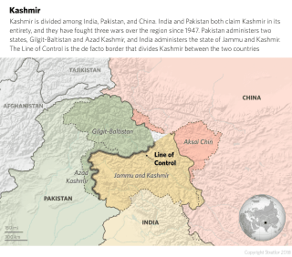 A map showing the territories of Kashmir divided among their controlling nations, China, India and Pakistan