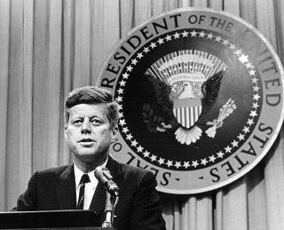 President John F. Kennedy gives an address in August 1963, just a few months before his assassination shocked the world.