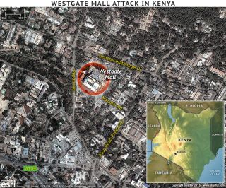 This map shows the location and surrounding streets where al Shabaab's attack on the Westgate Mall took place.