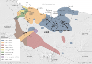A map of Libya shows the areas controlled by government forces and various militias.