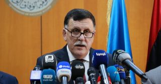 Prime Minister Fayez Sarraj of the U.N.-backed Government of National Accord delivers a speech in Tripoli on March 30.