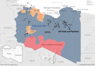 This map shows the territory controlled by Libya's three major factions