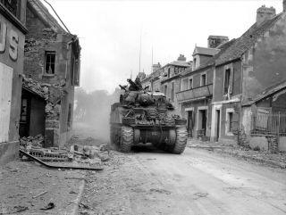 Photograph of an M4 medium tank in Normandy.