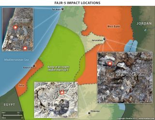 Gaza Rocket Impact Sites in Israel