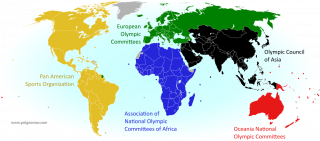 Map of all countries in the Olympics and their regional associations