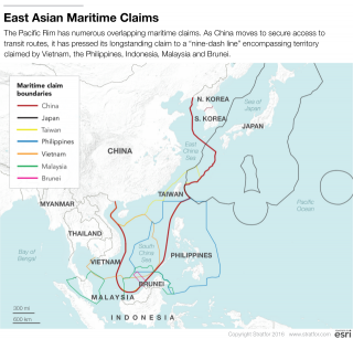 "The Pacific Rim has numerous overlapping maritime claims. As China moves to secure access to transit routes, it has pressed its longstanding claim to a ""nine-dash line"" encompassing territory claimed by Vietnam, the Philippines, Indonesia, Malaysia and Brunei."