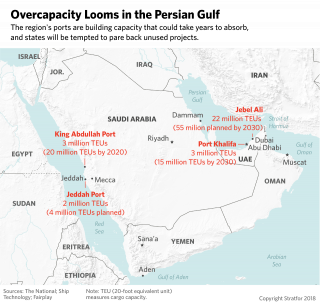 A map shows the four largest ports in Saudi Arabia and the United Arab Emirates.