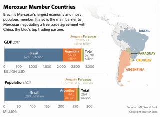 A chart showing the respective strengths of Mercosur's members.