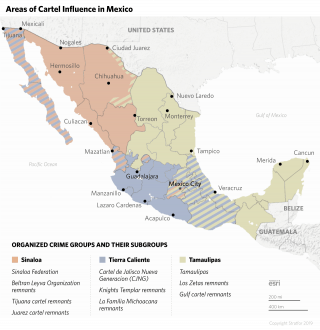 Map of Areas of Cartel Influence in Mexico: Sinaloa state, Tamaulipas state and the Tierra Caliente region