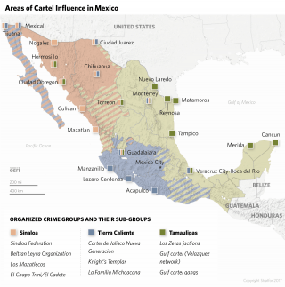 Map showing areas of Cartel influence in Mexico, focused on the Tamaulipas, Tierra Caliente and Sinaloa cartels.