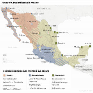 Areas of cartel influence in Mexico.