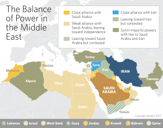 A map showing the balance of power in the Middle East.