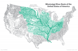 Map of Waterways in the Mississippi River Basin